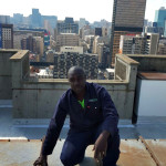 OdorCure Team at work on the roof of the Bram Fischer centre in Johannesburg